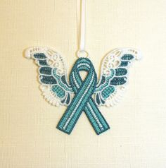 Ovarian Cancer Awareness Ribbon Ornament Blue and by QuiltSewLace #TopToBottom #WearTeal #Belabumbum