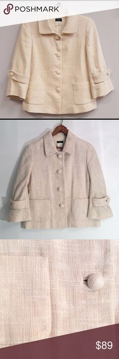 """J. CREW✨Lightweight Linen Cotton✨JACKET✨NWOT Exquisite!!! Linen Cotton, J. Crew lightweight, 3 season jacket. Lining in body is cotton, in sleeves is acetate. Cream, beige. New without tags, Size 2. Measures 18"""" armpit to armpit, laying flat. Three-quarter length sleeves are 17"""" long from shoulder. Jacket is 22"""" long from shoulder. Buttons are fabric covered. This is an outstanding piece!  Suggested User, Fast Shipper. J. Crew Jackets & Coats"""
