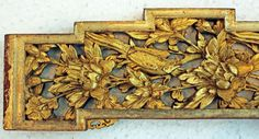 Antique 19th Century Carved Gilded Gold Wood Temple Panel Birds Lotus Flowers
