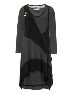 2-lagiges Kleid mit Zipfelsaum von Parmilon in Schwarz / Anthrazit.2-lagiges Kleid mit Zipfelsaum im navabi Designermode Shop kaufen.
