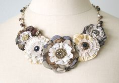 Flower Necklace - Earthtone Fabric Blossoms