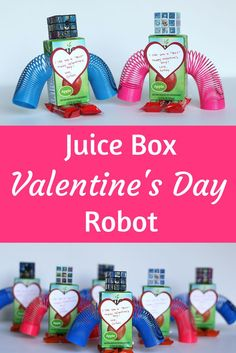 Makes these cute Valentine's Day juice box robots!! Great for a small group of kids.