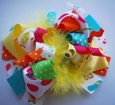 boutique FUNKY fun hello SUMMER hair bow clip by andjane on Etsy, $12.99