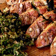 Grilled red mullet with lemon and celery salad