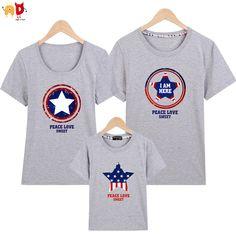 960d04e3a AD 1 unids Capitán ropa a juego de la familia de padre e hijo de mamá y yo  familia pareja camisetas ropa camisetas de algodón de calidad