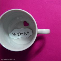 Get your name in beautiful style on Heart Cup picture. You can write your name on beautiful collection of Objects pics. Personalize your name in a simple fast way. You will really enjoy it.