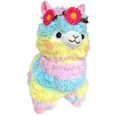 c13a5327390af Amazon.com  Cuddly Hot Pink Wreath Garland Series Llama Rainbow Alpaca Doll  13