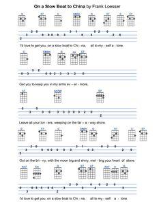 On A Slow Boat To China Ukulele Tabs, Ukulele Songs, Ukulele Chords, Slow Boat To China, Ukulele Fingerpicking, Words To Use, Sheet Music, Encouragement, Chart