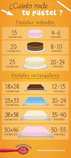Betty Crocker Recetas e Ideas - Latin America Sweet Recipes, Cake Recipes, Dessert Recipes, Gourmet Desserts, Fondant Cakes, Cupcake Cakes, Pastel Rectangular, Cake Sizes, Cake Servings
