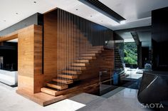 Great stair detail by by SAOTA and OKHA Interiors | HomeDSGN, a daily source for inspiration and fresh ideas on interior design and home decoration.