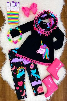 AU Stock Unicorn Kids Baby Girl Outfits Clothes T-shirt Top Dress+Long Pants Set Affiliate link purchases made through some pins may result in compensation at No cost to you Little Girl Outfits, Cute Outfits For Kids, Toddler Outfits, Baby Girl Fashion, Kids Fashion, Denim Long Sleeve Tops, Unicorn Kids, Happy Unicorn, Pompom Scarf
