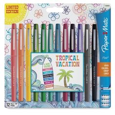 Shop for Point Guard Flair Bullet Porous Point Stick Pen, Tropical Ink/Barrel, Dozen. Get free delivery On EVERYTHING* Overstock - Your Online General Office Supplies Destination! Cool School Supplies, Tropical Colors, Marker Pen, Surfs Up, Gel Pens, Markers, How To Memorize Things, Stationery, Paper