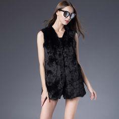 Winter Autumn Rabbit Fur Vest Fashion Real Fur Coats for Women Female Natural Full Pelt Fur Vests Outwear High Quality Fur Vest