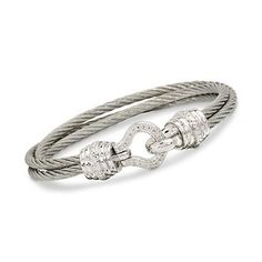 Stainless Steel and Sterling Silver Cabled Wrap Bracelet
