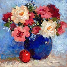 """Daily Paintworks - """"For the Love of Blue"""" - Original Fine Art for Sale - © Nancy F. Morgan"""
