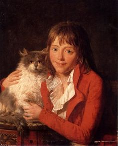 Jean-François Garneray (1755 – 1837, French) - The artist's son with his favorite pet