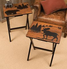 """Mountain Getaway Folding Side Tables (Set of 2) - Bring rustic style to entertaining or everyday meals with the MDF Mountain Getaway Folding Side Tables with bear and moose silhouette tops. Set of two. Measures 20""""W x 14 1/2""""D x 25 1/2""""H. ~"""