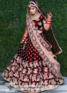 Lovely Wine & Maroon Raw Silk Lehenga Choli with Zari & Resham Embroidery Indian Bridal Outfits, Indian Bridal Fashion, Indian Bridal Wear, Indian Wedding Lehenga, Bridal Lehenga Choli, Lehenga Wedding Bridal, Indian Anarkali, Wedding Wear, Punjabi Wedding Dresses
