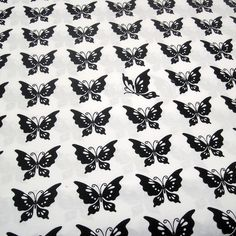 Cotton Fabric: Half Moon Butterfly Fabric in Black and White Cotton via Etsy.*