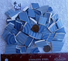 Blue mosaic tiles, ceramic china, blue ceramic tiles, craft supplies, recycled china, mosaic crafts, eco friendly, broken plates, tesserae by maggiemaybecrafty. Explore more products on http://maggiemaybecrafty.etsy.com