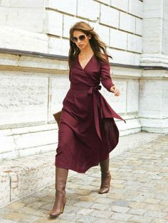 10 Modern Sewing Patterns that Flatter Women WOMEN – Burda Style Wrap Dress with Sash Mode Outfits, Dress Outfits, Dress Up, Dress Boots, Office Outfits, Knot Dress, Wrap Dress Outfit, Outfit Work, Tank Dress