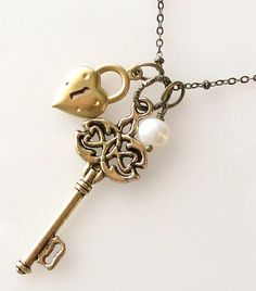Heart Lock Key Necklace Skeleton Key Charm Necklace by KriyaDesign, $21.00