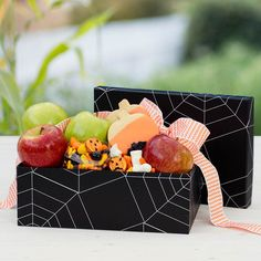 Two winners will receive this delicious box filled with crisp apples, dipped shortbread cookies, and a mix of ghoulish Halloween candies.