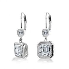 Square dazzling drop earrings