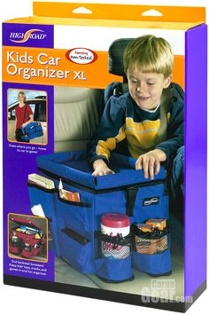 High Road Kid Car Organizer XL, shown here in Blue. The flip up tray lid provides a smooth drawing surface and keeps crayons from rolling ar...