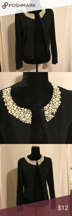 INC Cardigan This beautiful black cardigan with amazing pearls around the neckline, some of the pearls are lose and only one is missing as see in the picture! Please feel free to ask me any questions ❤️ INC International Concepts Sweaters Cardigans