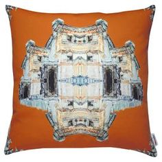 Crafted from cotton panama, this art print cushion features an abstract building design. Inspired by the work of artist Eun Young Choi, it adds a touch of personality to your neutral sofa or creates a bold look when teamed with a patterned bedspread.  Product: CushionConstruction Material: Cotton panama cover and feather insert Colour: OrangeFeatures:  Solid front and patterned back Full feather insert includedInspired by Eun Young Choi's original painting Made in the UKDimensions: Small…