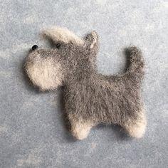 Cute Needle felted project wool animals dog Schnauzer (Via @goldenthreaddesign)