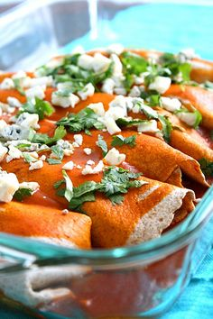 I can't wait to try this! Healthy buffalo chicken enchiladas!