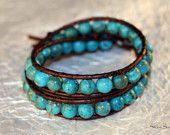 Genuine Arizona Turquoise Leather Wrap Bracelet-Chan Luu Style