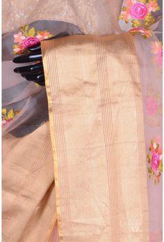 Pure Designer Saree-Peach-Thread Work-WG203692