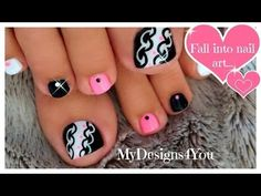 Hot Pink and Black Toenail Art Design ♥ Toenail Art Designs, Pedicure Designs, Black Nail Designs, Pedicure Nail Art, Toe Nail Art, White Pedicure, Nail Nail, Cute Toe Nails, Hot Nails