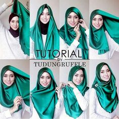 I like the color of the hijab, not much the style though. Turkish Hijab Tutorial, Square Hijab Tutorial, Simple Hijab Tutorial, Hijab Style Tutorial, Stylish Hijab, Hijab Casual, Hijab Chic, Hijab Outfit, Muslim Hijab