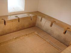 Toilets in bath house segedunum roman fort museum Hadrian Wall Museum