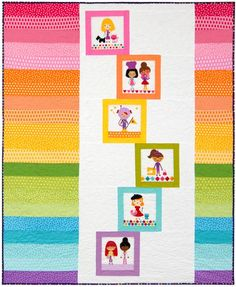 """""""Rainbow Building Blocks"""" quilt designed by Kelby Sews. Features Kona Cotton and Remix and Girl Friends by Ann Kelle. FREE pattern (robertkaufman.com) available 6/2015."""