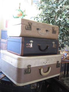 Vintage Suitcase Set of 3  Instant Stacker by preciousplaytime,