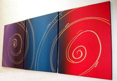 Wall art triptych art Color Spiral