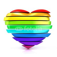 Colorful, rainbow heart. 3D render illustration isolated