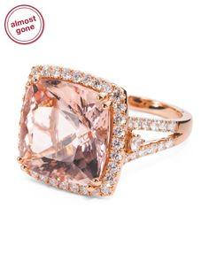 18k Rose Gold Diamond And Morganite Cushion Cut Ring Diamonds T J Ma