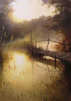 Roman Bozhkov's painting is imbued with a great love of nature, in addition to general conditions of nature, the author tries to notice. Cool Landscapes, Beautiful Landscapes, Paintings Of Landscapes, Watercolor Landscape, Watercolor Paintings, Landscape Artwork, Contemporary Landscape, Watercolours, Natur Wallpaper