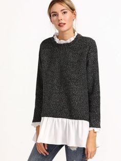 Grey Contrast Ruffle Collar Zip Back Sweater