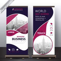 Modern business roll up banner Free Vector Rollup Banner, Graphic Design Flyer, Brochure Design, Booklet Design, Cool Business Cards, Business Card Design, Pull Up Banner Design, Rollup Design, Standee Design