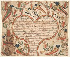 Title: Birth and Baptismal Certificate (Geburts und Taufschein) for Johannes Kerstetter Category: Birth and Baptismal Certificate (Geburts und Taufschein) Creators: Decorator: [Conrad Trevits (1751-1830)] Scrivener: [Conrad Trevits (1751-1830)] Creation Place: Town/Township: Mahantango Township County: Northumberland State/Province: Pennsylvania Note: Based on location of birth Creation Date: ca. 1805