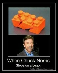 When Chuck Norris steps on a lego it screams and crys. Lego Jurassic World, Funny Memes, Hilarious, Jokes, Siri Funny, Funny Quotes, Legos, Really Funny, The Funny