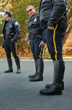 Cops in boots. Cop Uniform, Police Uniforms, Men In Uniform, Police Officer, Hot Cops, Motorcycle Boots, Sexy Men, Hot Men, Tall Boots