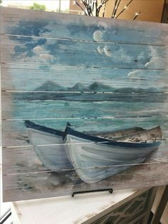 Pallet Painting, Pallet Art, Painting On Wood, Painting & Drawing, Watercolor Paintings, Painting Canvas, Art On Wood, Diy Painting, Wood Paintings